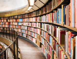biblioteca grande con muchos libros. Gestión documental