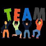"""Icono de la página """"Trabaja en Teknei"""". Trabajar en equipo para maximizar los resultados"""