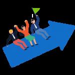 """Icono de la página """"Trabaja en Teknei"""".  Impulsar el crecimiento dentro de la empresa"""
